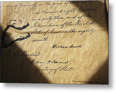 Close-up Of Emancipation Proclamation Metal Print by Todd Gipstein