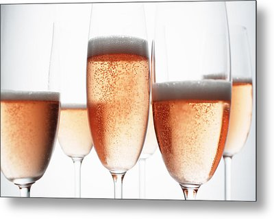 Close Up Of Glasses Of Champagne Metal Print by Brett Stevens