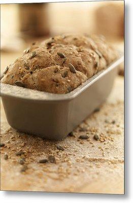Close Up Of Rustic Bread In Loaf Pan Metal Print by Adam Gault