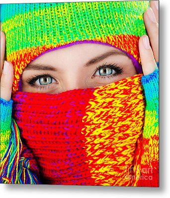 Close Up On Covered Face With Blue Eyes Metal Print by Anna Om