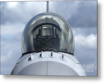 Close-up View Of The Canopy On A F-16a Metal Print by Ramon Van Opdorp