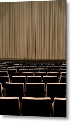 Closed Curtain In An Empty Theater Metal Print by Adam Burn