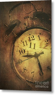 Closeup Of Old Clock Frozen In Ice Metal Print by Sandra Cunningham