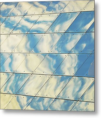Cloud Reflections On Building Mirror Metal Print by Befo