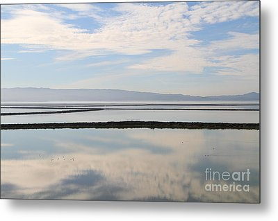 Cloud Reflections On Salt Marsh At Coyote Hills Regional Preserve California . 7d10968 Metal Print by Wingsdomain Art and Photography