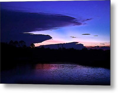 Metal Print featuring the photograph Clouded Sunset Over The Tomoka by DigiArt Diaries by Vicky B Fuller