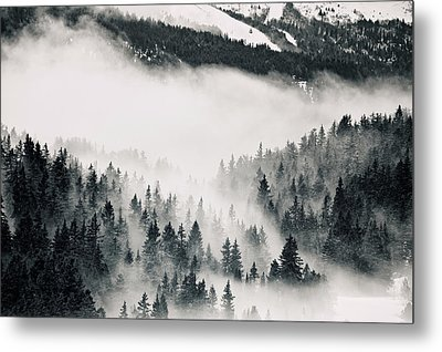 Clouds Moving Through Forest In French Alps Metal Print by Philipp Klinger
