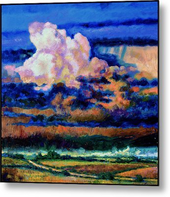 Clouds Over Country Road Metal Print by John Lautermilch