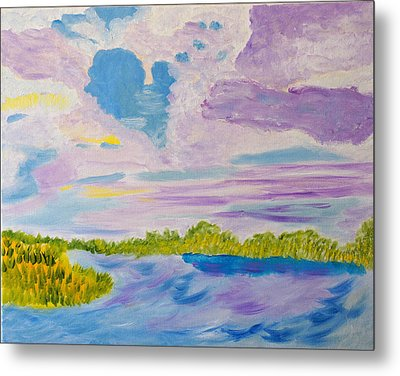 Metal Print featuring the painting Clouds' Reflections by Meryl Goudey