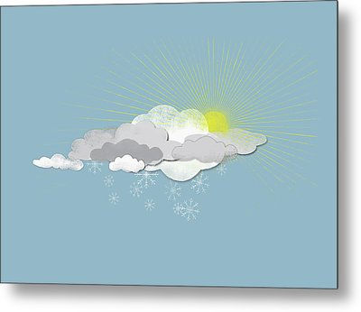 Clouds, Sun And Snowflakes Metal Print by Jutta Kuss