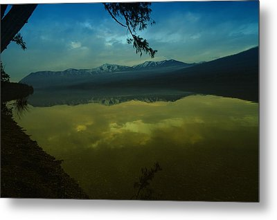 Clouds Trying To Dance In Still Water Metal Print by Jeff Swan