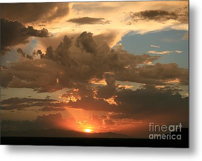 Cloudy Orange Sunset Metal Print by Cassandra Lemon