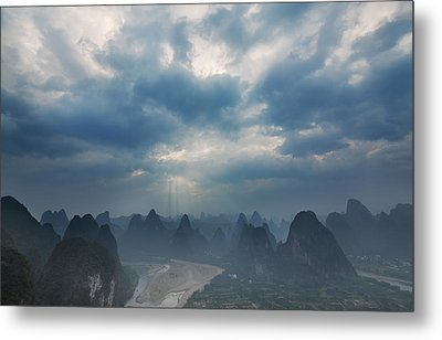 Cloudy Sunset In Guilin Guangxi China Metal Print by Afrison Ma