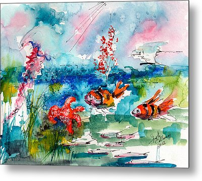Clown Fish Deep Sea Watercolor Metal Print by Ginette Callaway