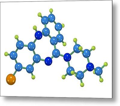 Clozapine Antipsychotic Drug Molecule Metal Print by Dr Mark J. Winter