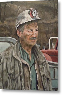 Metal Print featuring the painting Coal Miner At Isabella Mine by James Guentner