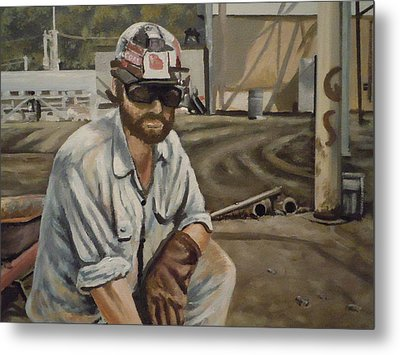 Metal Print featuring the painting Coal Miner At Vestaburg Mine by James Guentner