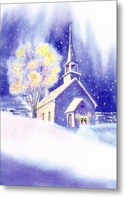 Coastal Church Christmas Metal Print by Joseph Gallant