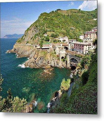 Coastal Railway Tunnel In Italian Village Metal Print by Wx Photography