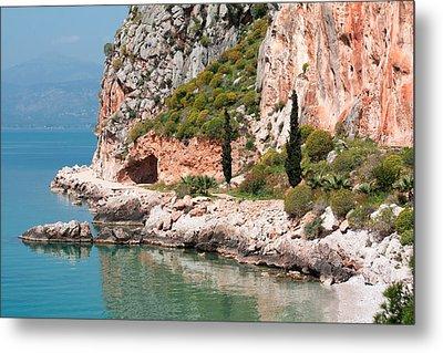 Coastline Of Greece Metal Print by Shirley Mitchell