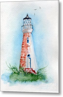 Metal Print featuring the painting Cockspur Lighthouse 2 by Doris Blessington