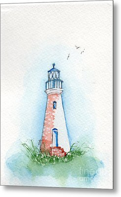 Metal Print featuring the painting Cockspur Lighthouse by Doris Blessington