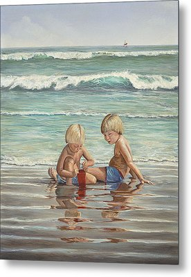 Metal Print featuring the painting Cocoa Beach Sandcastles by AnnaJo Vahle