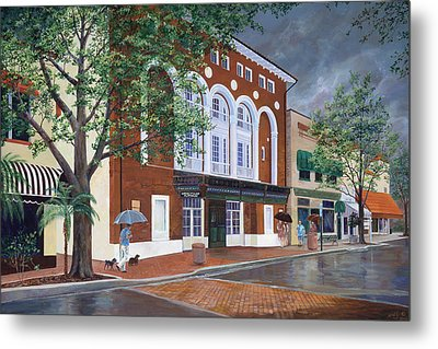 Metal Print featuring the painting Cocoa Village Playhouse by AnnaJo Vahle