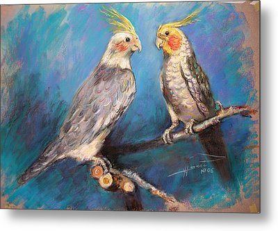 Coctaiel Parrots Metal Print by Ylli Haruni