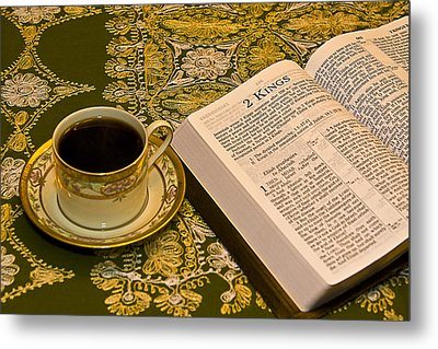 Coffee And Bible Metal Print by Trudy Wilkerson