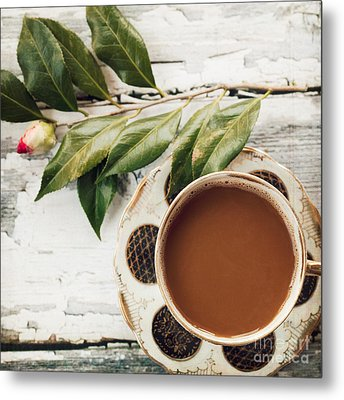 Coffee And Camellia Metal Print by Kim Fearheiley