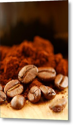 Coffee Beans And Ground Coffee Metal Print by Elena Elisseeva
