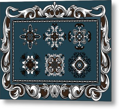 Coffee Flowers Ornate Medallions 6 Piece Collage Mediterranean Metal Print by Angelina Vick