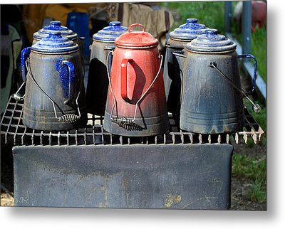 Metal Print featuring the photograph Coffee Pots by Jim  Arnold