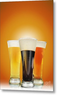 Cold Alcohol Beer Drinks On Gold Metal Print by Angela Waye