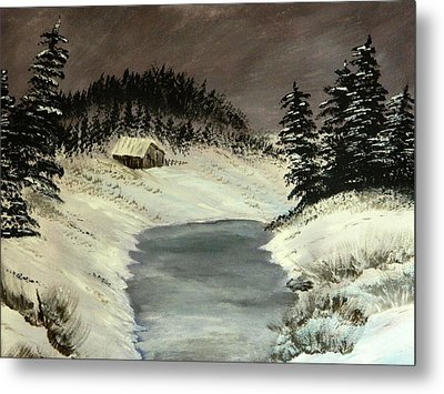 Metal Print featuring the painting Cold Out There by Everette McMahan jr