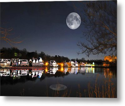 Cold Winter's Night On Boathouse Row Metal Print by Elaine Plesser
