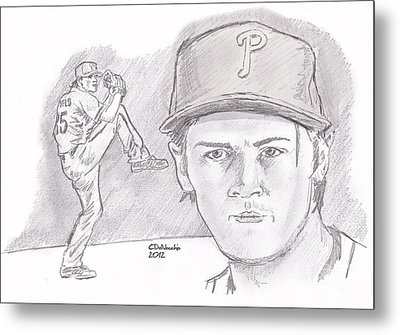 Metal Print featuring the drawing Cole Hamels by Chris  DelVecchio