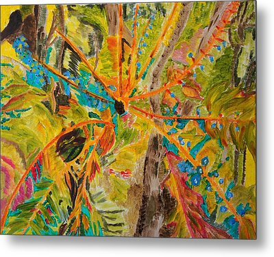 Metal Print featuring the painting Collage Of Leaves by Meryl Goudey