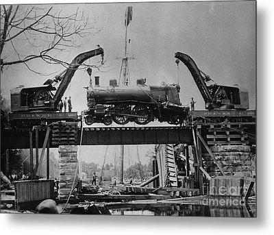 Collapsed Bridge And Train Recovery Metal Print by M E Warren and Photo Researchers