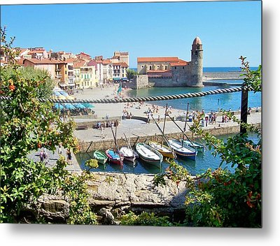 Collioure From Knights Of Templar Castle Metal Print by Marilyn Dunlap