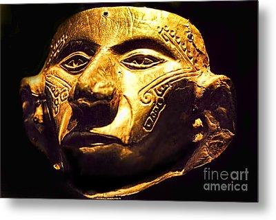Colombian Gold Mask  Metal Print by Alexandra Jordankova