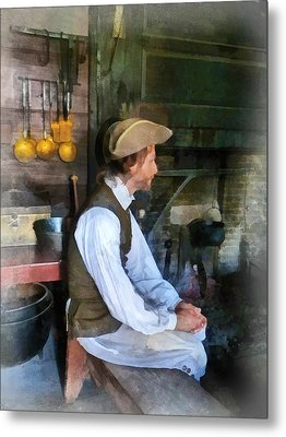 Colonial Man In Kitchen Metal Print by Susan Savad