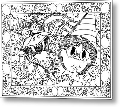 Color Me Card - New Years Metal Print