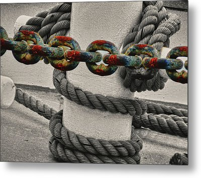 Colored Chain Metal Print by Kelly Reber