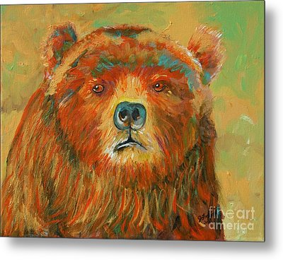 Colorful Bear Metal Print by Jeanne Forsythe