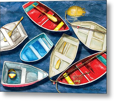 Metal Print featuring the painting Colorful Boats by Anne Beverley-Stamps