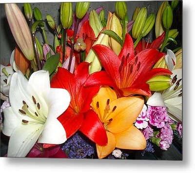 Colorful Bouquet Of Lilies - Lilium Metal Print by Liliana Ducoure