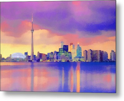Metal Print featuring the digital art Colorful City Scape by Walter Colvin