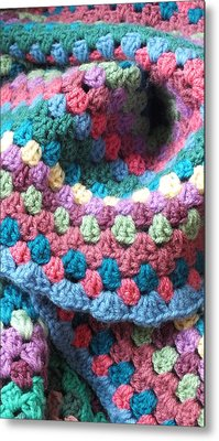 Colorful Crochet Metal Print by Emma Manners